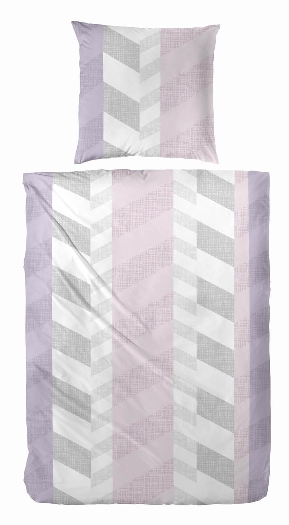 Fein Biber Bettwasche In Grau Rosa 135 X 200 80 X 80 Cm