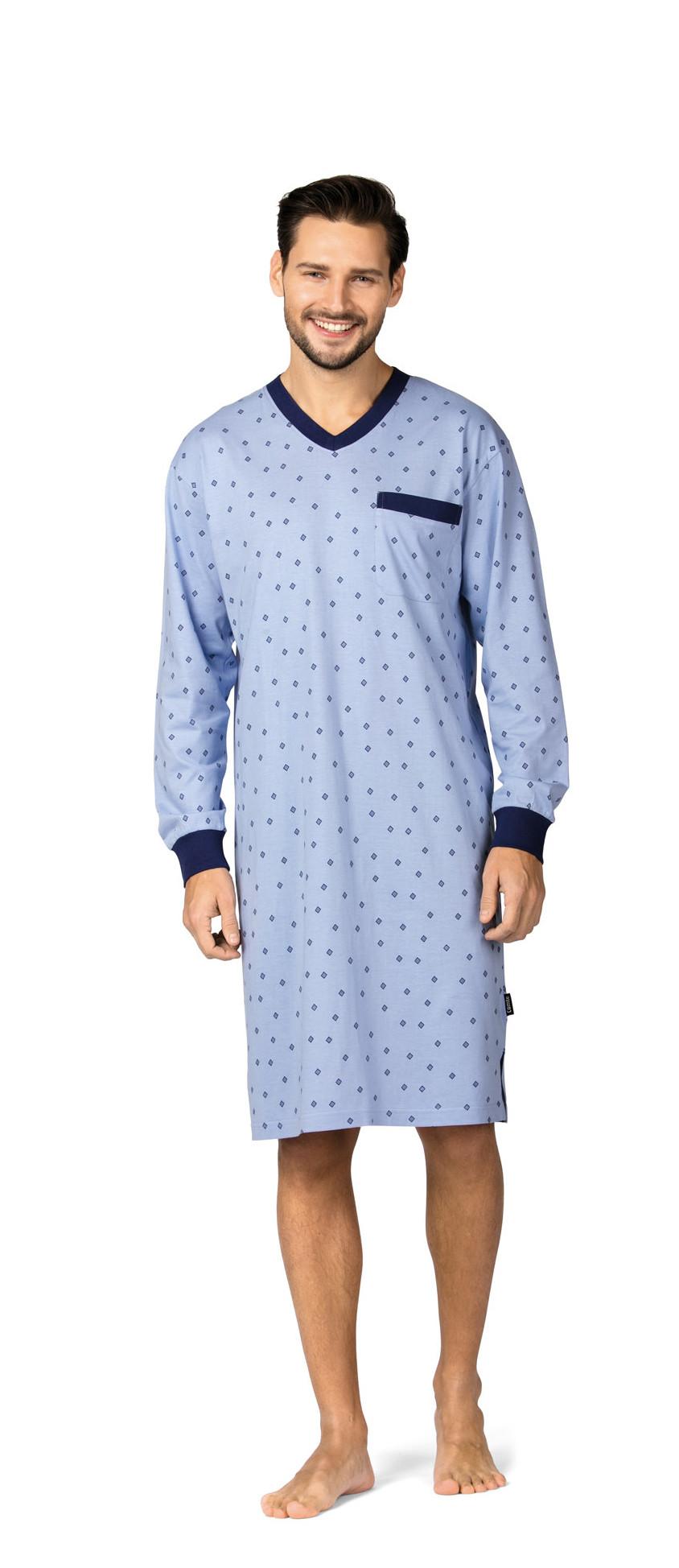 Comte 182702 Herren Nachthemd langer Arm 100% Baumwolle Blau Gr. 48 S