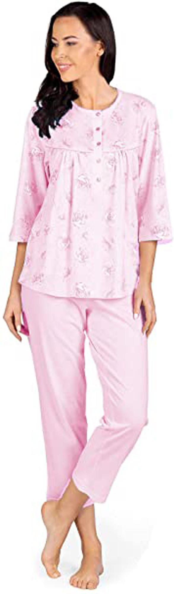 Comtessa Damen Schlafanzug halber Arm Rosa 38 40 42 44 46 48 50 52 54 56 58 100% Baumwolle