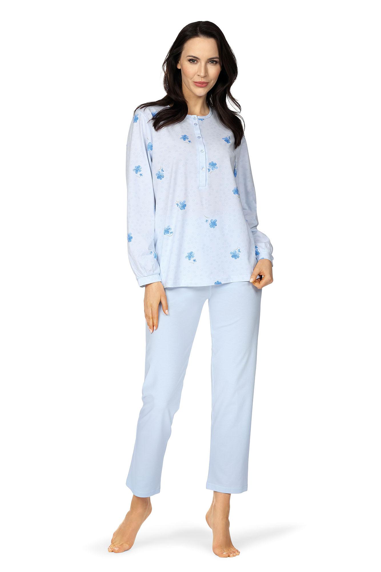 Comtessa Damen Schlafanzug langer Arm Bleu Knopfleiste 38 40 42 44 46 48 50 52  100% Baumwolle
