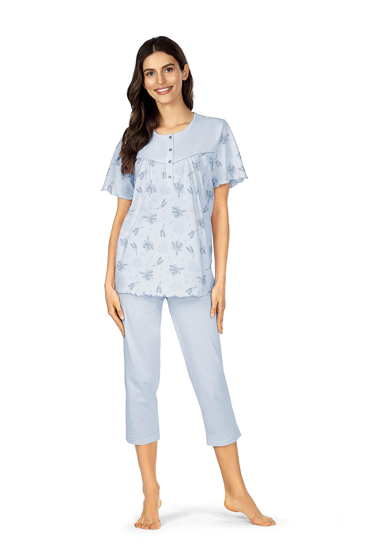 Comtessa Schlafanzug Damen kurzer Arm Bleu Knopfleiste 100% Baumwolle Übergröße