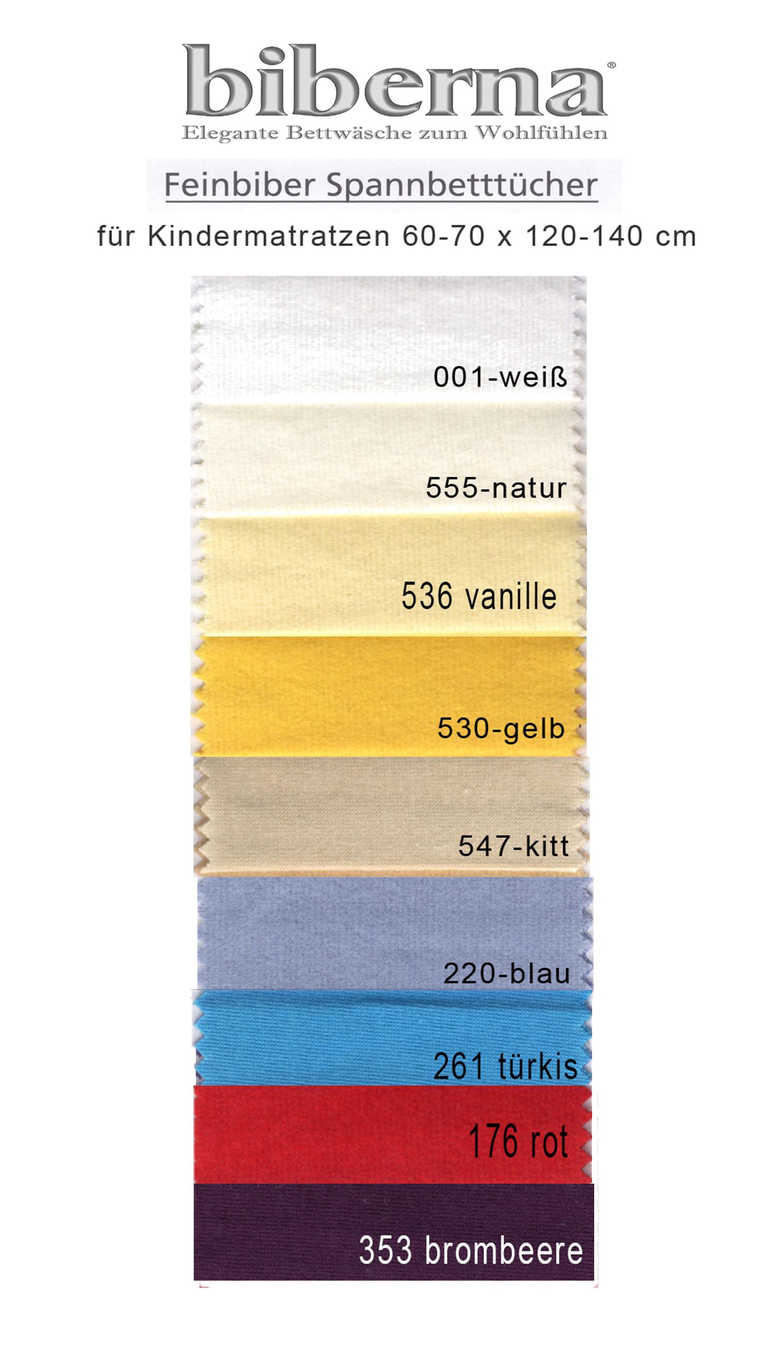 Biberna Kinder Baby Fein Biber Spannbettlaken 70x140 in 9 Farben