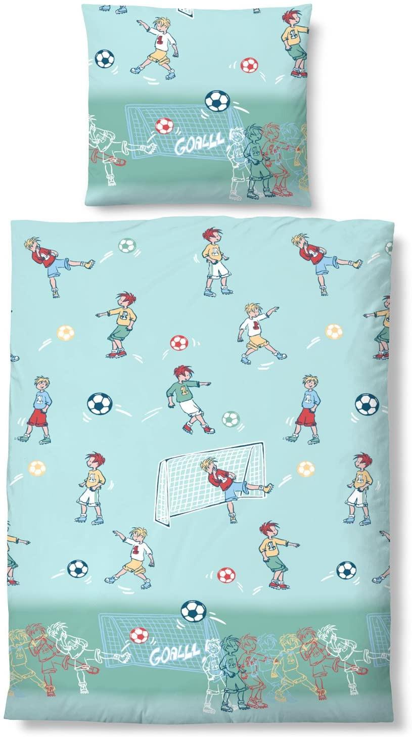 Biberna Linon Baby Bettwäsche 100x135 + 40x60 cm in hellblau Fußball