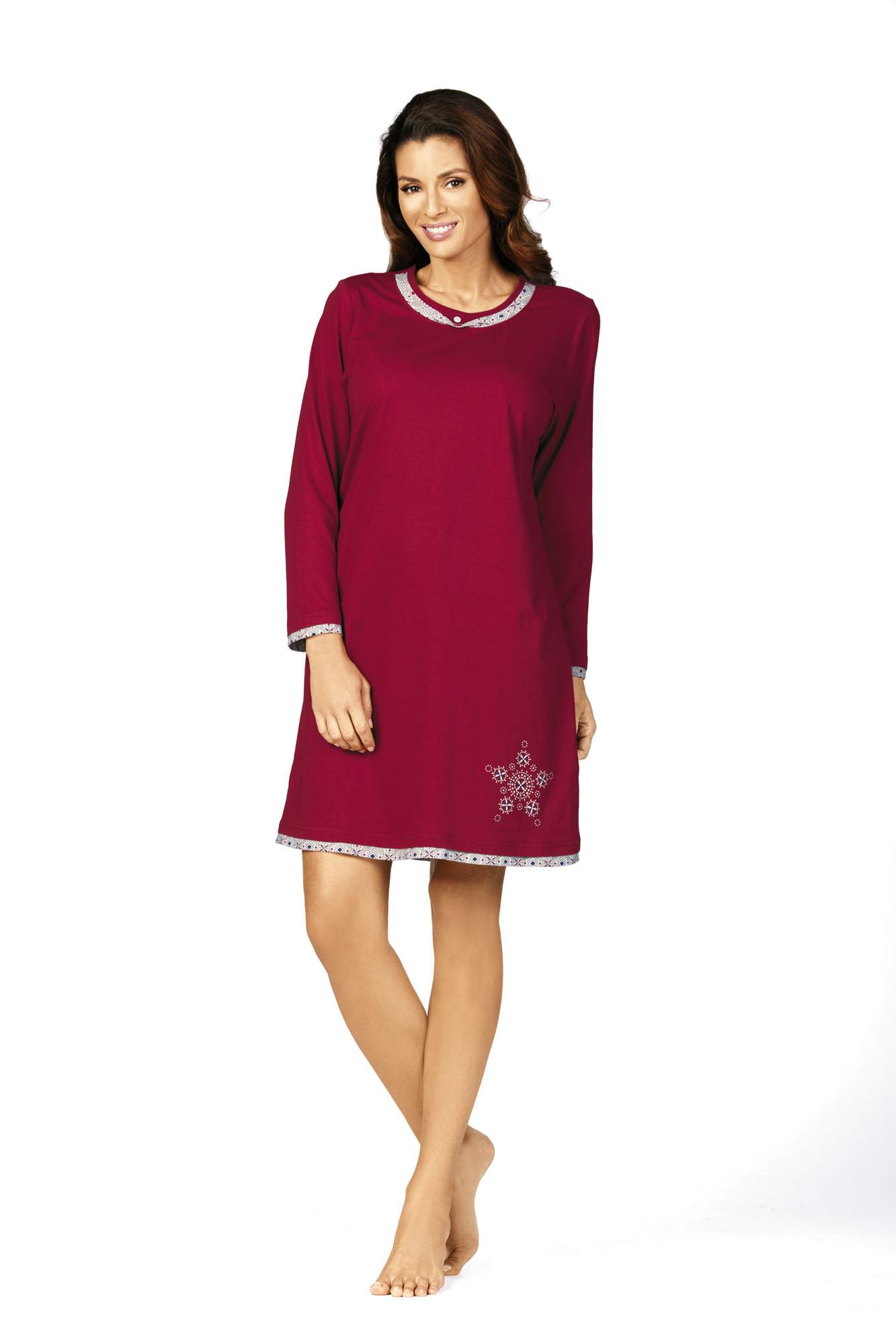 Comtessa Damen Nachthemd Schlafshirt in granberry 36 38 40 42 44 46 48 50 52 54