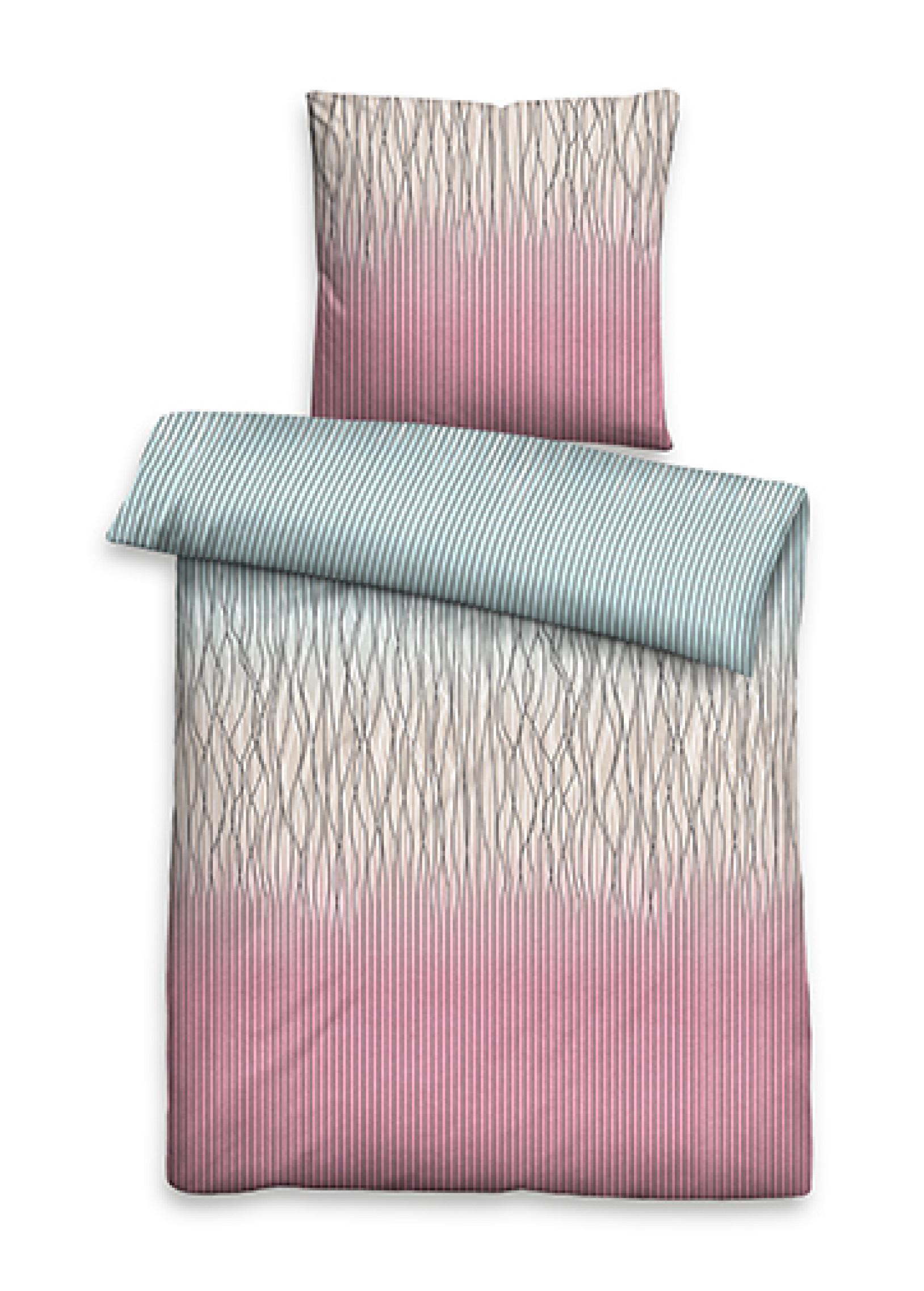 Baumwollsatin Bettw/äsche Susan Zartes Rosa 155 x 220 cm 1 Kissenbezug 1x 80 x 80 cm 1 Bettbezug