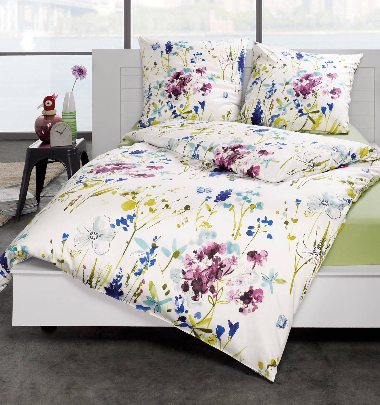 estella mako satin bettw sche levi 135x200 80x80 cm in azur schlafst. Black Bedroom Furniture Sets. Home Design Ideas