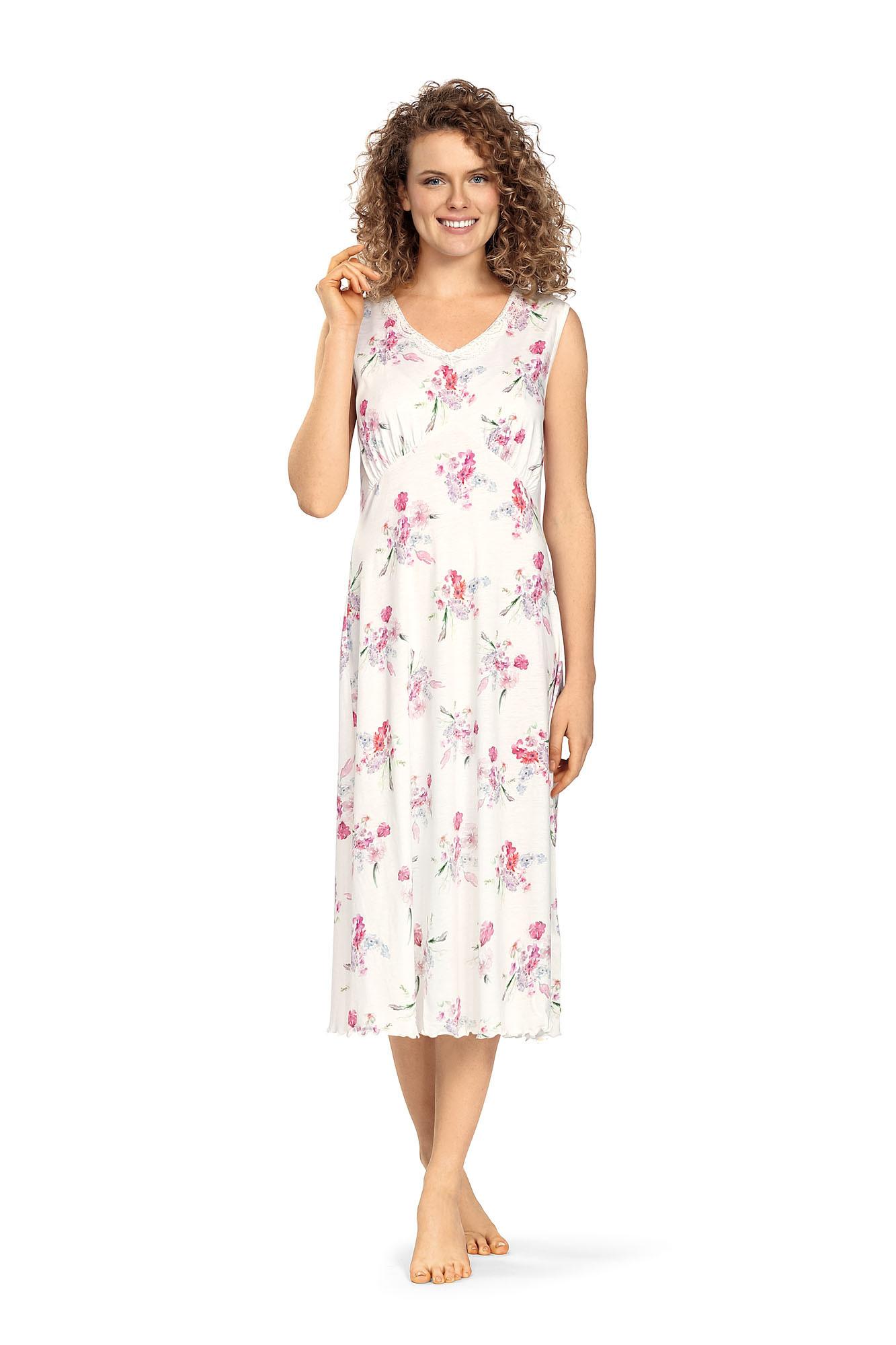 Comtessa Ascafa Damen Nachthemd ohne Arm lang Ecru Baumwolle Modal