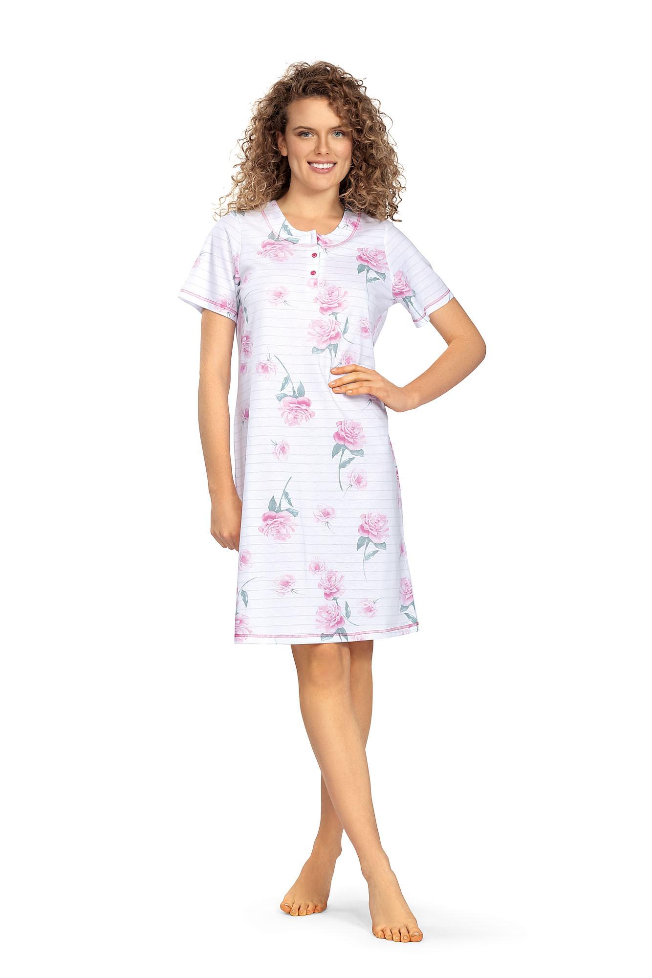 Comtessa Ascafa Damen Nachthemd Knopfleiste kurzer Arm weiß Rosenmuster 100% Baumwolle