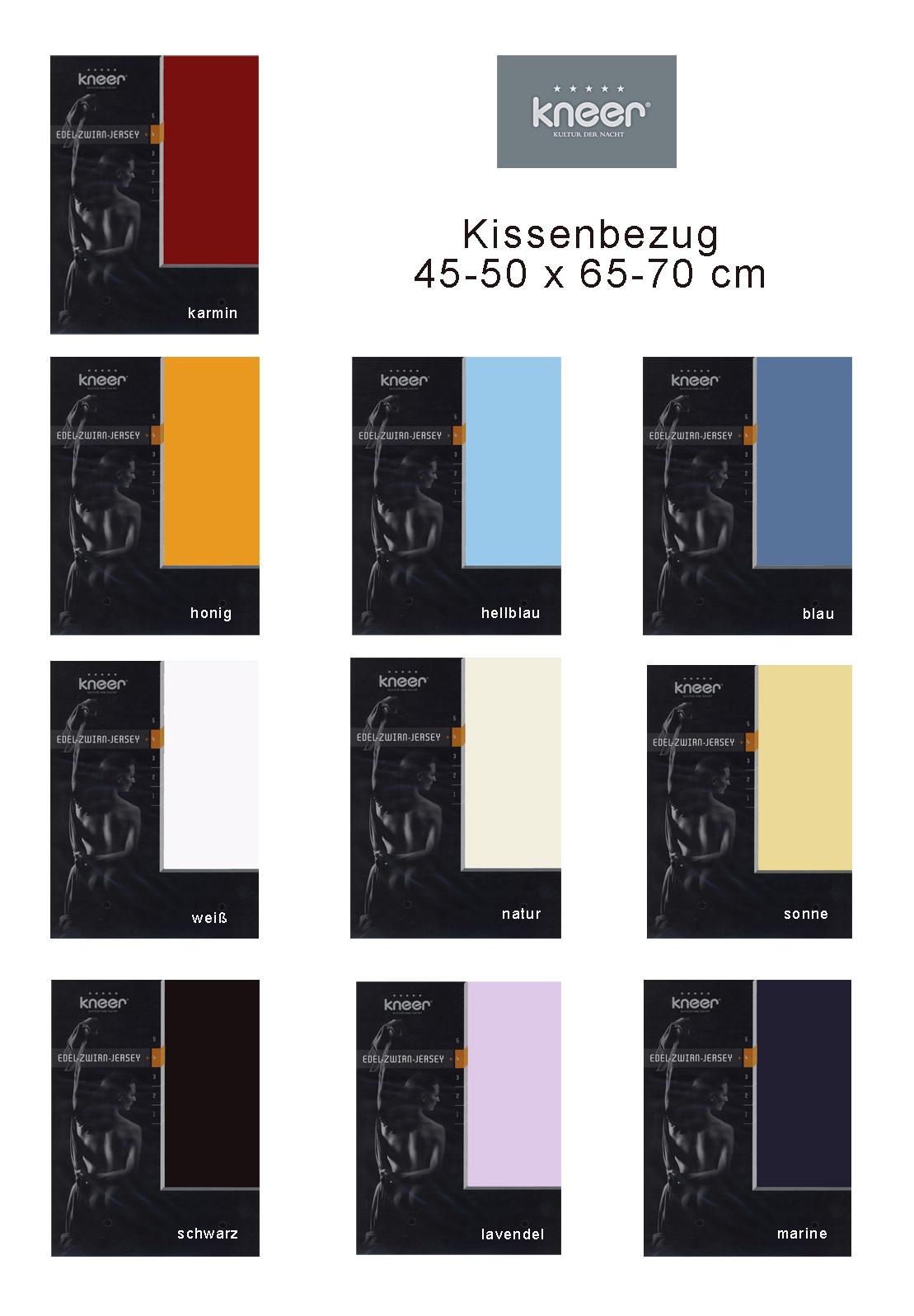 Kneer Mako Zwirn Jersey Kissenbezug 50x70 cm in 11 Farben