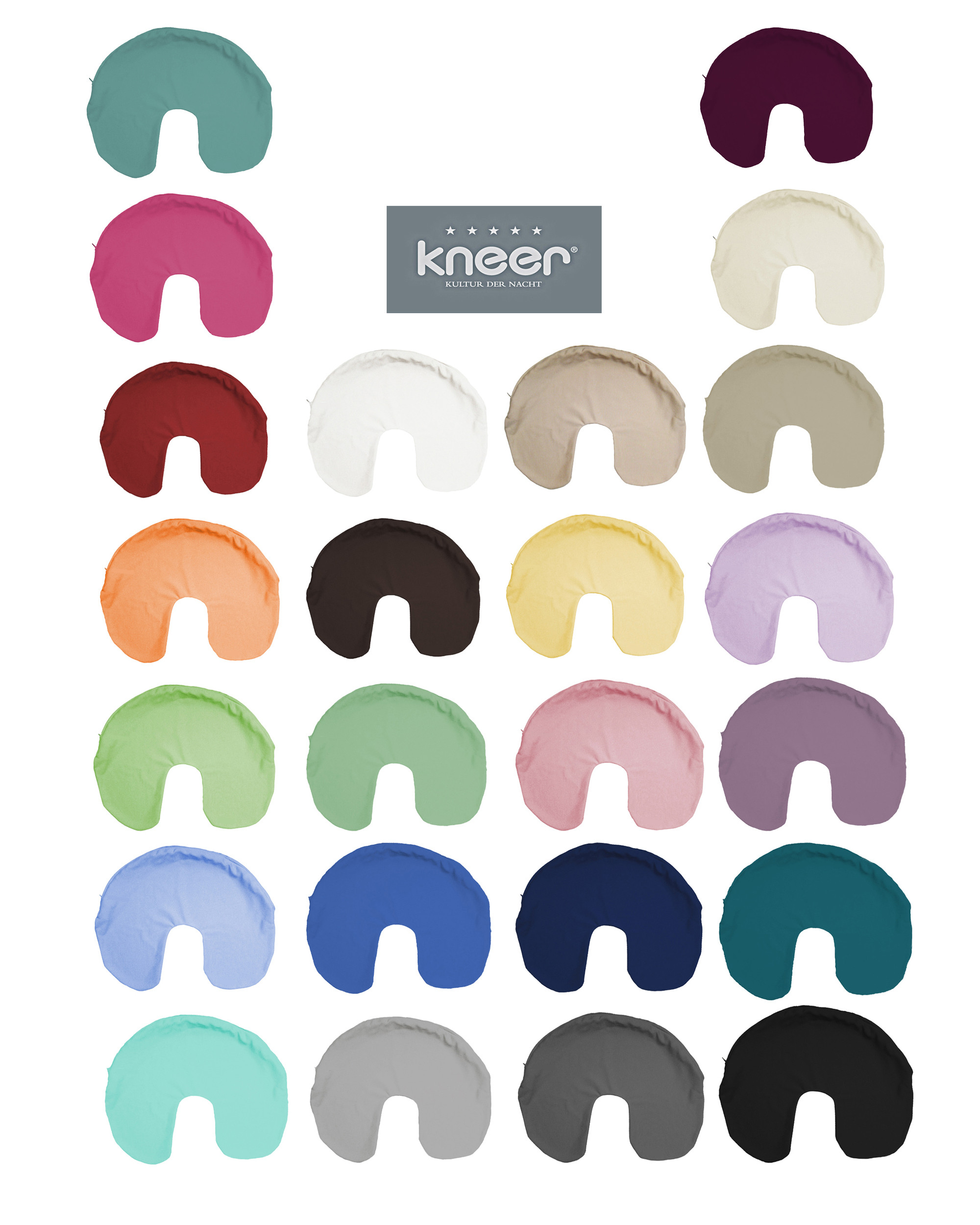 Kneer Nackenhörnchen Nackenkissen Bezug Mako Interlock Jersey in 23 Farben
