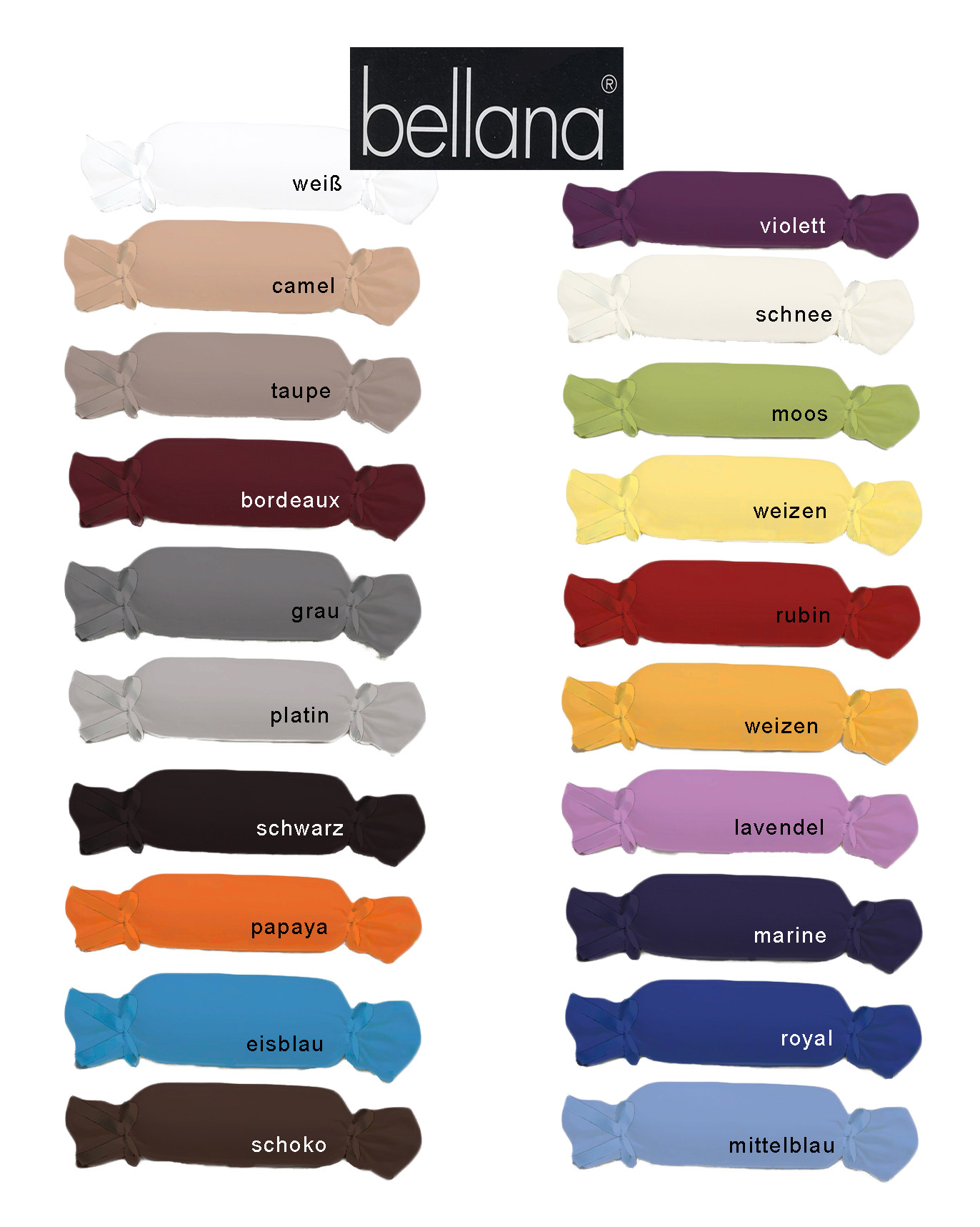 Bellana Mako Jersey Nackenrollenbezug 15x40 cm 20 Farben