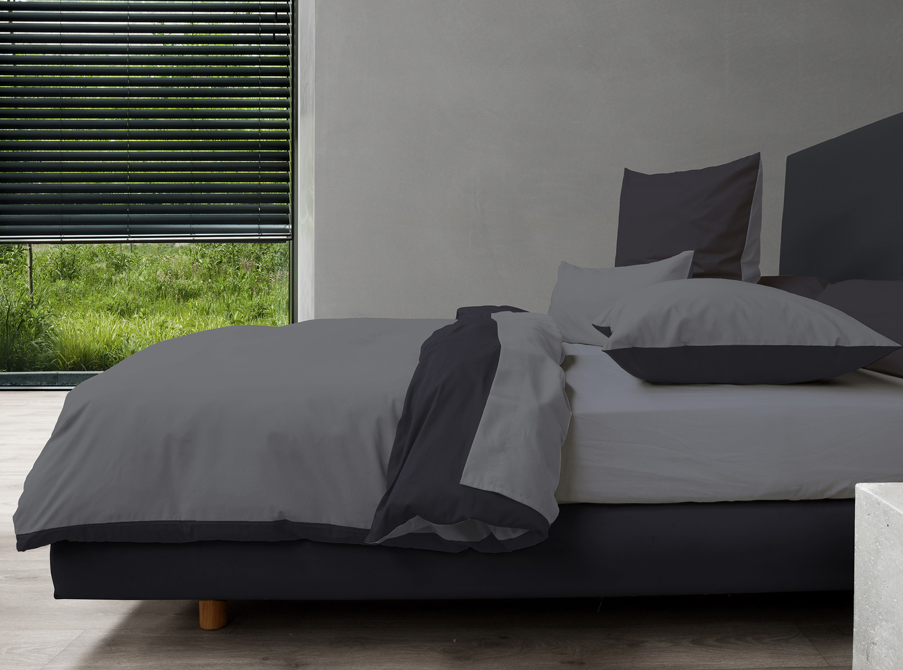 hnl perkal bettw sche wendeoptik in grau schwarz 135x200. Black Bedroom Furniture Sets. Home Design Ideas