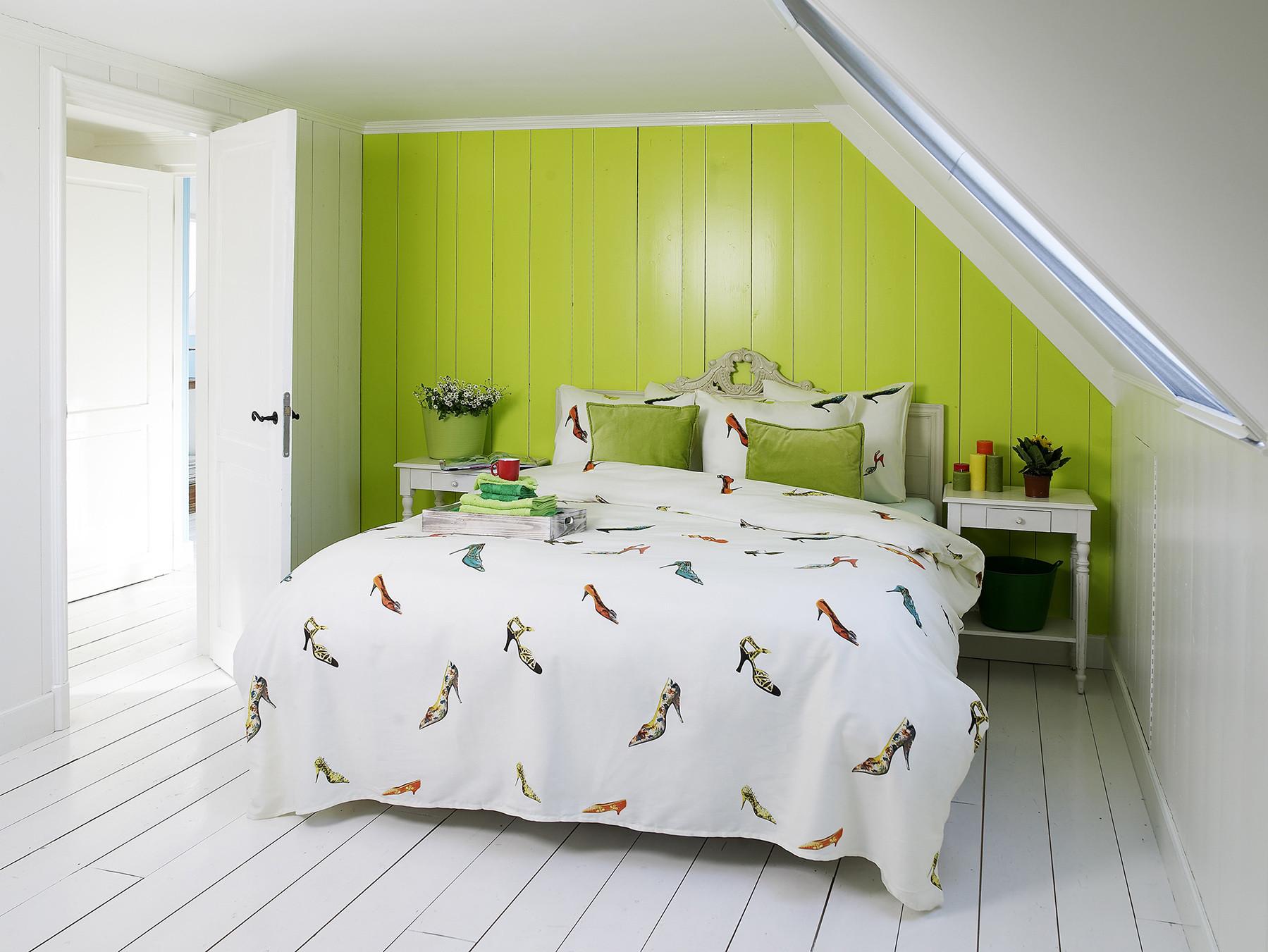 hnl refined satin bettw sche susan schuhe 100 baumwolle 135x200 80x80 cm in ecru bunt. Black Bedroom Furniture Sets. Home Design Ideas