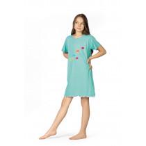 Comtessa Nachthemd Sleepshirt Mädchen in türkis bunte Fische Gr. 104 116 128 140