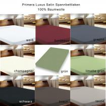 Primera Luxus Satin Spannbettlaken 100x200 150x200 190x200 in 9 Farben