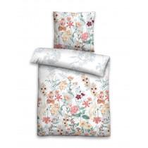 Biberna Seersucker Bettwäsche Weiß Mehrfarbig Blumen 200x200 + 2x 80x80 cm