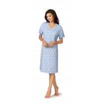 Comtessa Damen Nachthemd kurzer Arm Hellblau 36 38 40 42 44 46 48 50 52 54 S M L XL XXL