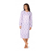 Comtessa Damen Nachthemd langer Arm Knopfleiste lavendel 36 38 40 42 44 46 48 50 52 54 S M L XL XXL