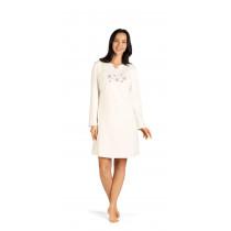 Comtessa Damen Nachthemd langer Arm Ecru 44 46 48 50 52 54 56 58 100% Baumwolle