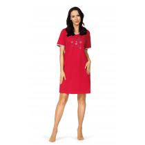 Comtessa Damen Nachthemd kurzer Arm Rot 36 38 40 42 44 46 48 50 52 54 56 58 100% Baumwolle