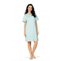 Comtessa Damen Nachthemd kurzer Arm Blue Curacao 36 38 40 42 48 50 56 58 100% Baumwolle