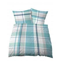 Biberna Castell Seersucker Bettwäsche Blau Weiß 155x220 + 80x80 cm
