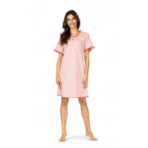 Comtessa Damen Nachthemd kurzer Arm Apricot Übergröße 100% Baumwolle