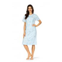 Comtessa Damen Nachthemd kurzer Arm Bleu Knopfleiste 100% Baumwolle