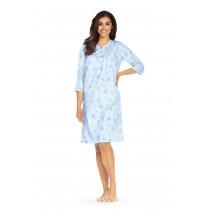 Comtessa Damen Nachthemd halber Arm Bleu Knopfleiste 100% Baumwolle Übergrößen