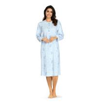 Comtessa Damen Nachthemd langer Arm Bleu Knopfleiste 100% Baumwolle