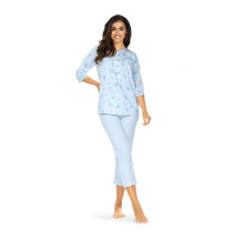 Comtessa Schlafanzug Damen halber Arm Bleu Knopfleiste 100% Baumwolle