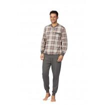 Comtessa Herren Schlafanzug Pyjama Bündchen in kit beige  Gr.  52 54 56 58 60