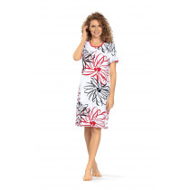 Comtessa Ascafa Damen Nachthemd Knopfleiste kurzer Arm weiß rot schwarz 100% Baumwolle