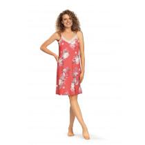 Comtessa Ascafa Damen Nachthemd ohne Arm weiß Rot Baumwolle Modal