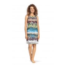 Comtessa Ascafa Damen Strand Sommer Kleid ohne Arm weiß Multicolor
