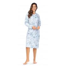 Comtessa Ascafa Damen Nachthemd langer Arm Bleu 100%  Baumwolle
