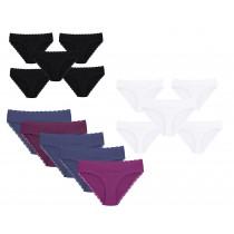 Damen Slips Rio Alessia Neu 100% Baumwolle 5er-Set in M L XL 40 42 44 46 48 50 Weiß Schwarz Bunt