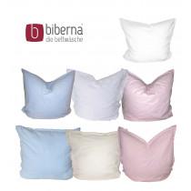 Biberna Biber / Linon Kissenbezug 80x80 cm in weiß, rosa, creme, hellblau
