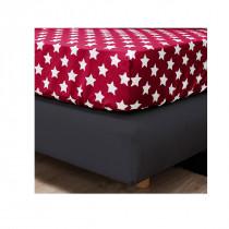 F2F Biber Sterne Spannbettlaken Rot  200 x 200 cm