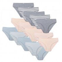 Damen Slips Luanda 100% Baumwolle 5er-Set S M L in hellgrau hellblau apricot 36 38 40 42 44 46