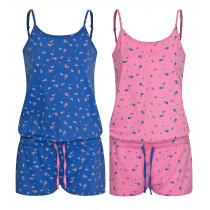 Moonline Damen kurzer Schlafanzug Jumpsuit Ones in pink blau Gr. S 36 38