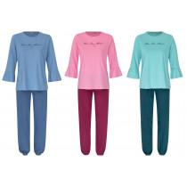 Moonline Damen Schlafanzug Parda langer Arm Volant Baumwolle grün blau rosa S M L XL 36 38 40 42 44 46 48 50