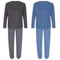 Moonline Damen Schlafanzug Sabella langer Arm Baumwolle anthrazit blau S M L XL 36 38 40 42 44 46 48 50