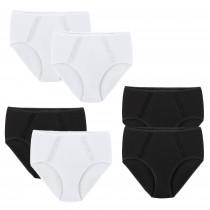 Damen Slips hoher Bund Sofie 95 % Baumwolle Elasthan 2er-Set in  schwarz weiß M L XL XXL 40 42 44 46 48 50 52 54